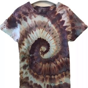 Tie Dye T-Shirt Small New Brown Rose Blue Spiral